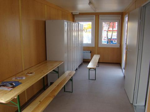 Inside of the changing room container