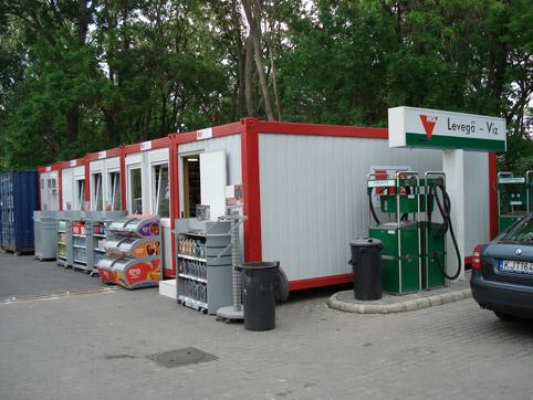 Shop containers at MOL petrol station