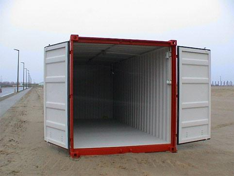 Storage container with open door